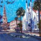 """Church Street with Huguenot Church and St. Philips""   Acrylic   30""x30"""