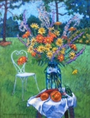 """Detta's Backyard, Mexican Sunflowers""   Acrylic   28""x22"""