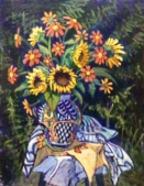 """""""Mexican Sunflowers in a Mexican Vase"""" 