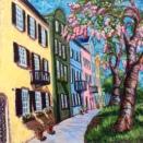 """Rainbow Row Balconies"" | Acrylic | 20""x20"""